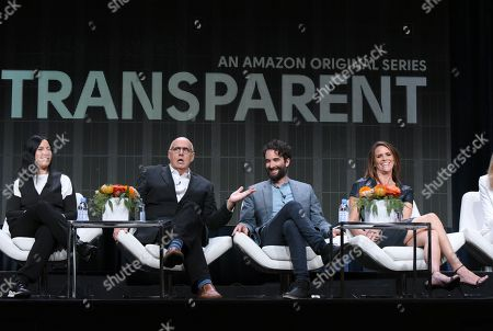 "Producer Andrea Sperling, from left, Jeffrey Tambor, Jay Duplass and Amy Landecker participate in the ""Transparent"" panel at the Amazon Summer TCA Tour at the Beverly Hilton Hotel, in Beverly Hills, Calif"