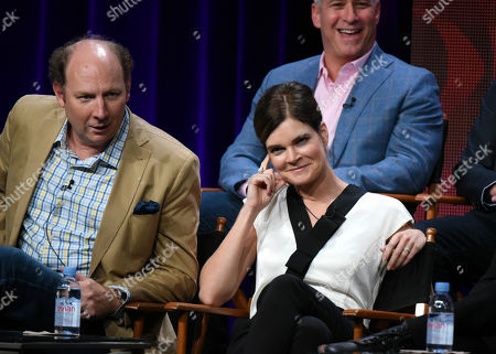 """Dan Bakkedahl, from left, Betsy Brandt and Aaron Kaplan participate in the """"Life in Pieces"""" panel at the CBS Summer TCA Tour at the Beverly Hilton Hotel, in Beverly Hills, Calif"""