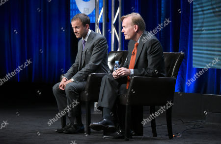 David Rhodes, President, CBS News, left, and John Dickerson, Political Director for CBS News participate in the CBS News panel at the CBS Summer TCA Tour at the Beverly Hilton Hotel, in Beverly Hills, Calif