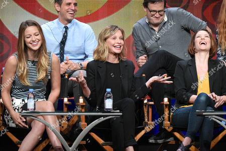 """Stock Image of Melissa Benoist, from left, Greg Berlanti, Calisa Flockhart, Andrew Kreisberg and Chyler Leigh participate in the """"Supergirl"""" panel at the CBS Summer TCA Tour at the Beverly Hilton Hotel, in Beverly Hills, Calif"""