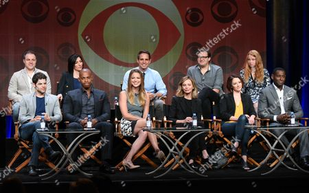"Jeremy Jordan, from bottom left, Mehcad Brooks, Melissa Benoist, Calista Flockhart, Chyler Leigh, David Harewood, Geoff Johns, from top left, Ali Adler, Greg Berlanti, Andrew Kreisberg, and Sarah Schecter participates in the ""Supergirl"" panel at the CBS Summer TCA Tour at the Beverly Hilton Hotel, in Beverly Hills, Calif"