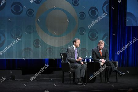 President, CBS News, David Rhodes, left, and Political Director, CBS News, John Dickerson, participate in the CBS News panel at the CBS Summer TCA Tour at the Beverly Hilton Hotel, in Beverly Hills, Calif