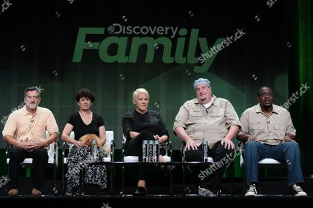 """Stock Picture of Bill Berloni, Co-owner and President of William Berloni Theatrical Animals, from left, Dorothy Berloni, Co-owner and Vice President of William Berloni Theatrical Animals, Sarah Davies, Vice President of Production for Discovery Family Channel, Mike Schario, Professional Finder, and Jesse Brown, Professional Finder appear during the """"From Wags to Riches with Bill Bill Berloni and Lost & Found """" panel at the Discovery Communications 2015 Summer TCA Tour held at the Beverly Hilton Hotel on in Beverly Hills, Calif"""