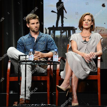 """Stock Photo of Actors Mike Vogel, left, and Daisy Betts participate in the """"Childhood's End"""" panel at the The NBCUniversal Television Critics Association Summer Tour at the Beverly Hilton Hotel, in Beverly Hills, Calif"""