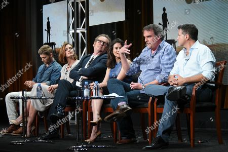 """Actors Mike Vogel, from left, Daisy Betts, Colm Meaney, Yael Stone, Writer/Executive Producer Matthew Graham and Executive Producer Michael De Luca participate in the """"Childhood's End"""" panel at the NBCUniversal Television Critics Association Summer Tour at the Beverly Hilton Hotel, in Beverly Hills, Calif"""