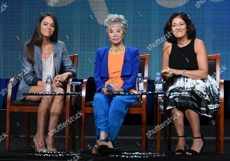 """Stock Photo of Actor/executive producer Michele Lepe, from left, Rita Moreno and cultural consultant Homa Tavangar participate in the Sprout network's """"Nina's World"""" panel at the NBCUniversal Television Critics Association Summer Tour at the Beverly Hilton Hotel, in Beverly Hills, Calif"""