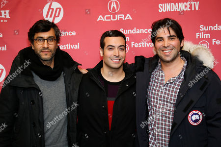 "Director Ramin Bahrani, left, executive producer Mohammed Al Turki, center, and producer Kevin Turen, right, poses at the premiere of ""99 Homes"" during the 2015 Sundance Film Festival, in Park City, Utah"