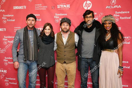"""From left to right,actor Jayson Warner Smith, actress Cynthia Santiago, actor Tim Guinee, director Ramin Bahrani, and actress Nadiyah """"Skyy"""" Taylor pose at the premiere of """"99 Homes"""" during the 2015 Sundance Film Festival, in Park City, Utah"""
