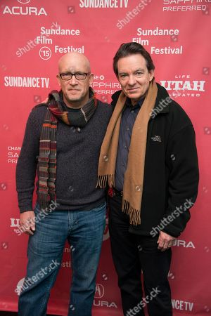 """Director Alex Gibney and author/producer Lawrence Wright attend the premiere of """"Going Clear: Scientology and the Prison of Belief"""" during the 2015 Sundance Film Festival, in Park City, Utah"""