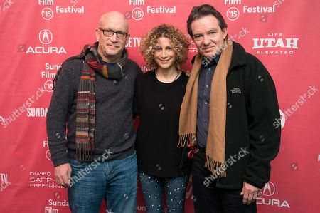 """Director Alex Gibney, Sara Bernstein, Senior Vice President of Programming for HBO Documentaries, and author/producer Lawrence Wright attend the premiere of """"Going Clear: Scientology and the Prison of Belief"""" during the 2015 Sundance Film Festival, in Park City, Utah"""