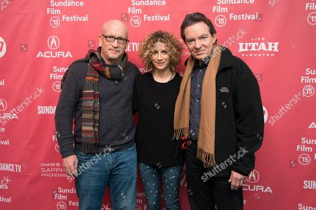 """Director Alex Gibney, left, Sara Bernstein, Senior Vice President of Programming for HBO Documentaries, and author/producer Lawrence Wright, right, attend the premiere of """"Going Clear: Scientology and the Prison of Belief"""" during the 2015 Sundance Film Festival, in Park City, Utah"""