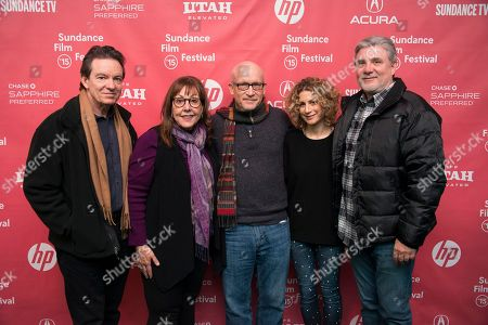 """From left to right, Author/producer Lawrence Wright, former Scientology church member Spanky Taylor, director Alex Gibney, Sara Bernstein, Senior Vice President of Programming for HBO Documentaries and former Scientology church member Mike Rinder attend the premiere of """"Going Clear: Scientology and the Prison of Belief"""" during the 2015 Sundance Film Festival, in Park City, Utah"""