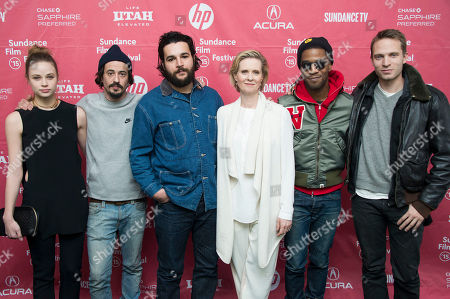 "Actress Makenzie Leigh, from left, director Josh Mond, actor Christopher Abbott, actress Cynthia Nixon, musician/actor Kid Cudi and actor David Call pose at the premiere of ""James White"" during the 2015 Sundance Film Festival, in Park City, Utah"