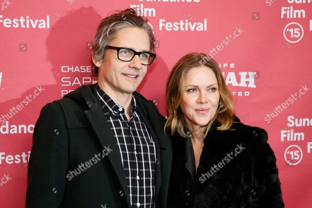 """Composers Dean Wareham, left, and Britta Phillips, right, poses at the premiere of """"Mistress America"""" during the 2015 Sundance Film Festival, in Park City, Utah"""
