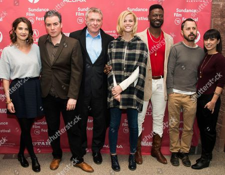 """From left, actress Cobie Smulders, actors Kevin Corrigan and Andrew Michael Hall, actress Brooklyn Decker, actors Tishuan Scott and Giovanni Ribisi and actress Constance Zimmer attend the """"Results"""" premiere during the 2015 Sundance Film Festival, in Park City, Utah"""