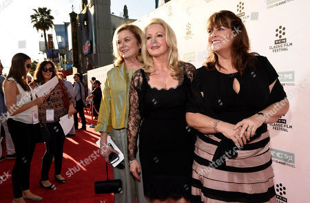 """Stock Photo of Left to right, Heather Menzies-Urich, Kym Karath and Debbie Turner, cast members in the classic film """"The Sound of Music,"""" pose together before a 50th anniversary screening of the film at the opening night gala of the 2015 TCM Classic Film Festival, in Los Angeles"""