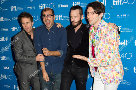 """Sam Rockwell, from left, director Paco Cabezas, Michael Eklund and writer Max Landis attend a press conference for """"Mr. Right"""" on day 10 of the Toronto International Film Festival at TIFF Bell Lightbox, in Toronto"""