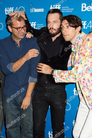 """Director Paco Cabezas, Michael Eklund and Writer Max Landis attend a press conference for """"Mr. Right"""" on day 10 of the Toronto International Film Festival at TIFF Bell Lightbox, in Toronto"""