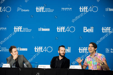 """Sam Rockwell, from left, Michael Eklund and Writer Max Landis attend a press conference for """"Mr. Right"""" on day 10 of the Toronto International Film Festival at TIFF Bell Lightbox, in Toronto"""