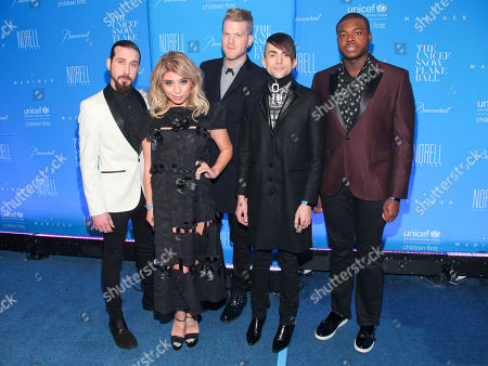 Avi Kaplan, from left, Kirstie Maldonado, Scott Hoying, Mitch Grassi and Kevin Olusola of Pentatonix attend the U.S. Fund for UNICEF Snowflake Ball benefit at Cipriani Wall Street, in New York