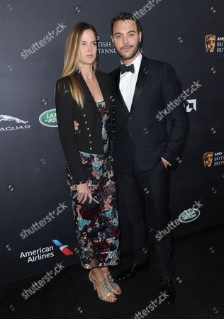 Shannan Click, left, and Jack Huston arrive at the BAFTA Los Angeles Britannia Awards at the Beverly Hilton Hotel, in Beverly Hills, Calif