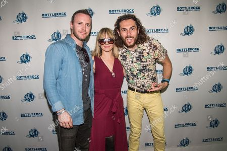 Ritzy Bryan, Rhydian Dafydd, and Matt Thomas of The Joy Formidable pose in the press room at BottleRock Napa Valley Music Festival at Napa Valley Expo, in Napa, Calif