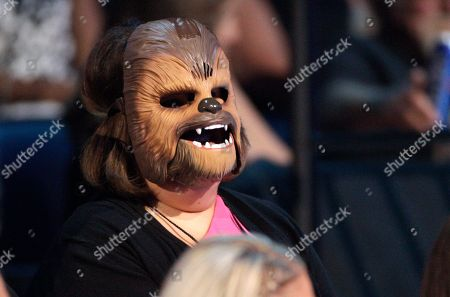 "Stock Photo of Candace Payne, also known as ""Chewbacca Mom, appears in the audience wearing her Chewbacca mask at the CMT Music Awards at the Bridgestone Arena, in Nashville, Tenn"