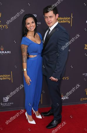 Laneya Arvizu, left, and Christopher Sean arrive at the 2016 Daytime Peer Group Celebration presented by the Television Academy at their Saban Media Center, in North Hollywood, Calif