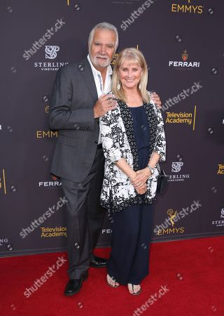 John McCook, left, and Laurette Spang arrive at the 2016 Daytime Peer Group Celebration presented by the Television Academy at their Saban Media Center, in North Hollywood, Calif