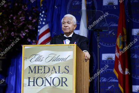 Nasser J. Kazeminy, Chairman of the National Ethnic Coalition of Organizations, addresses honorees and guests at the 2016 Ellis Island Medals of Honor awards ceremony on on Ellis Island, NY. NECO honored ninety outstanding Americans including Joint Chiefs of Staff General Martin Dempsey, former U.S Army General Ann E. Dunwoody, recording artist Tony Orlando, TV host Padma Lakshmi and former NFL player Mike Utley
