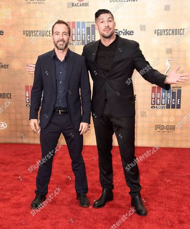 Bryan Callen, left, and Brendan Schaub arrive at the Guys Choice Awards at Sony Pictures Studios, in Culver City, Calif