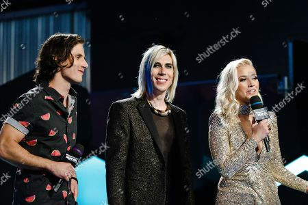 Marianas Trench and Liz Trinnear seen at the 2016 iHeartRadio MuchMusic Video Awards, in Toronto, Canada