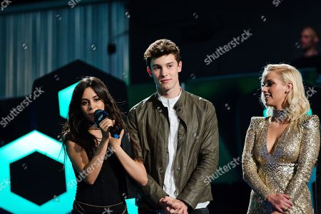 Camila Cabello, Shawn Mendes and Liz Trinnear seen at the 2016 iHeartRadio MuchMusic Video Awards, in Toronto, Canada