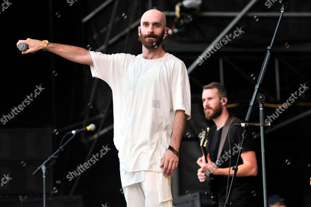 Sam Harris, left, and Noah Feldshuh of X Ambassadors performs on day 3 at Lollapalooza in Grant Park, in Chicago