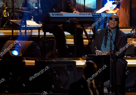 Stevie Wonder performs Three Times a Lady at the MusiCares Person of the Year tribute honoring Lionel Richie at the Los Angeles Convention Center on