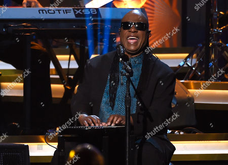 Stock Picture of Stevie Wonder performs Three Times a Lady at the MusiCares Person of the Year tribute honoring Lionel Richie at the Los Angeles Convention Center on