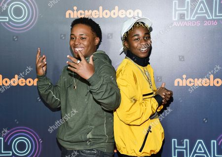 Stock Image of Detroit rap duo Zayion McCall, left, and Zay Hilfigerrr attend the 2016 Nickelodeon HALO Awards at Pier 36, in New York