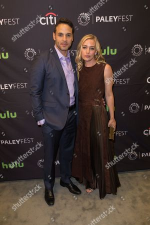 "Daniel Sunjata, left, and Piper Perabo, cast members in the television series ""Notorious"" arrive at the 2016 PaleyFest Fall TV Previews at The Paley Center for Media, in Beverly Hills, Calif"