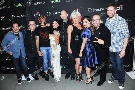 "Dorian Roldan, from left, Christopher DeJoseph, Fenix, Karlee Perez, Vampiro, Kira Forster, Melissa Santos, Martin Rubalcaba and Christopher Roach attends the ""Lucha Underground"" screening and panel discussion at the 2016 PaleyFest Fall TV Previews, in Beverly Hills, Calif"