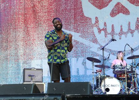 Kele Okereke, Russell Lissack, Justin Harris and Louise Bartle with Bloc Party performs during the 2016 Shaky Knees Festival at Centennial Olympic Park, in Atlanta