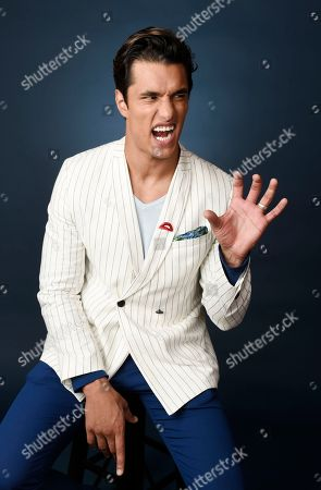 """Staz Nair, a cast member in the Fox movie """"Rocky Horror Picture Show,"""" strikes a pose during a portrait session at the 2016 Television Critics Association Summer Press Tour at the Beverly Hilton, in Beverly Hills, Calif"""