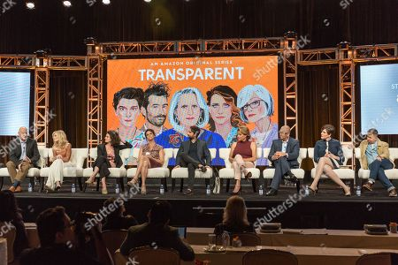 """Stock Photo of Jeffrey Tambor, from left, Judith Light, Gaby Hoffmann, Amy Landecker, Jay Duplass, Alexandra Billings, Victor Hsu, Our Lady J, and Ali Liebegott participate in the """"Transparent"""" panel during the Amazon Television Critics Association summer press tour, in Beverly Hills, Calif"""