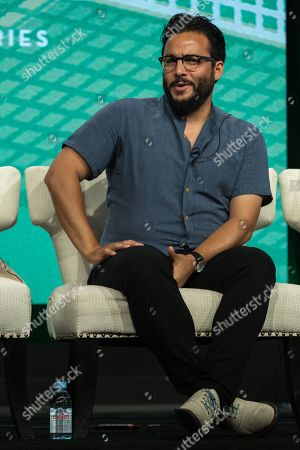 """Ennis Esmer participates in the """"Red Oaks"""" panel during the Amazon Television Critics Association summer press tour, in Beverly Hills, Calif"""