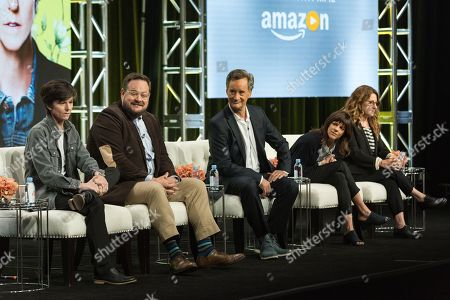 """Stock Photo of Tig Notaro, from left, Noah Harpster, John Rothman, Kate Robin, and Nicole Holofcener participate in the """"One Mississipi"""" panel during the Amazon Television Critics Association summer press tour, in Beverly Hills, Calif"""
