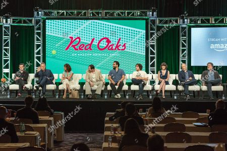 "Stock Photo of Craig Roberts, from left, Paul Reiser, Jennifer Grey, Richard Kind, Ennis Esmer, Oliver Cooper, Alexandra Socha, Joe Gangemi, and Greg Jacobs participate in the ""Red Oaks"" panel during the Amazon Television Critics Association summer press tour, in Beverly Hills, Calif"
