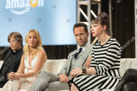 """Erin Darke, right, Chris Diamantopoulos, Anna Camp, and Hunter Parrish participate in the """"Good Girls Revolt"""" panel during the Amazon Television Critics Association summer press tour, in Beverly Hills, Calif"""