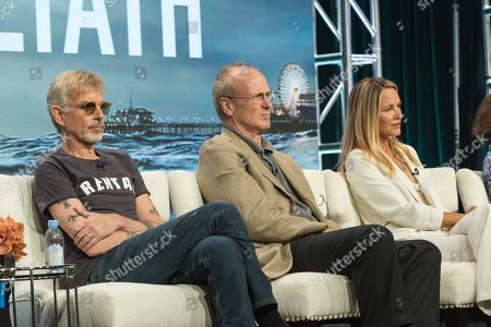 """Billy Bob Thornton, from left, William Hurt, and Maria Bello participate in the """"Goliath"""" panel during the Amazon Television Critics Association summer press tour, in Beverly Hills, Calif"""
