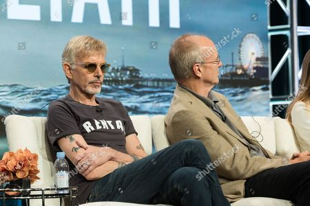 """Billy Bob Thornton, left, and William Hurt participate in the """"Goliath"""" panel during the Amazon Television Critics Association summer press tour, in Beverly Hills, Calif"""
