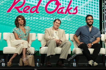 """Jennifer Grey, from left, Richard Kind, and Ennis Esmer participate in the """"Red Oaks"""" panel during the Amazon Television Critics Association summer press tour, in Beverly Hills, Calif"""