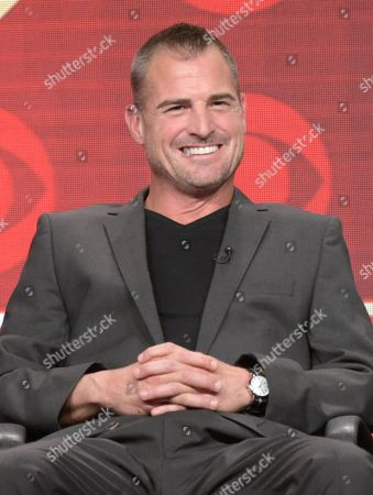 George Eads participates in the 'MacGyver' panel during the CBS Television Critics Association summer press tour, in Beverly Hills, Calif